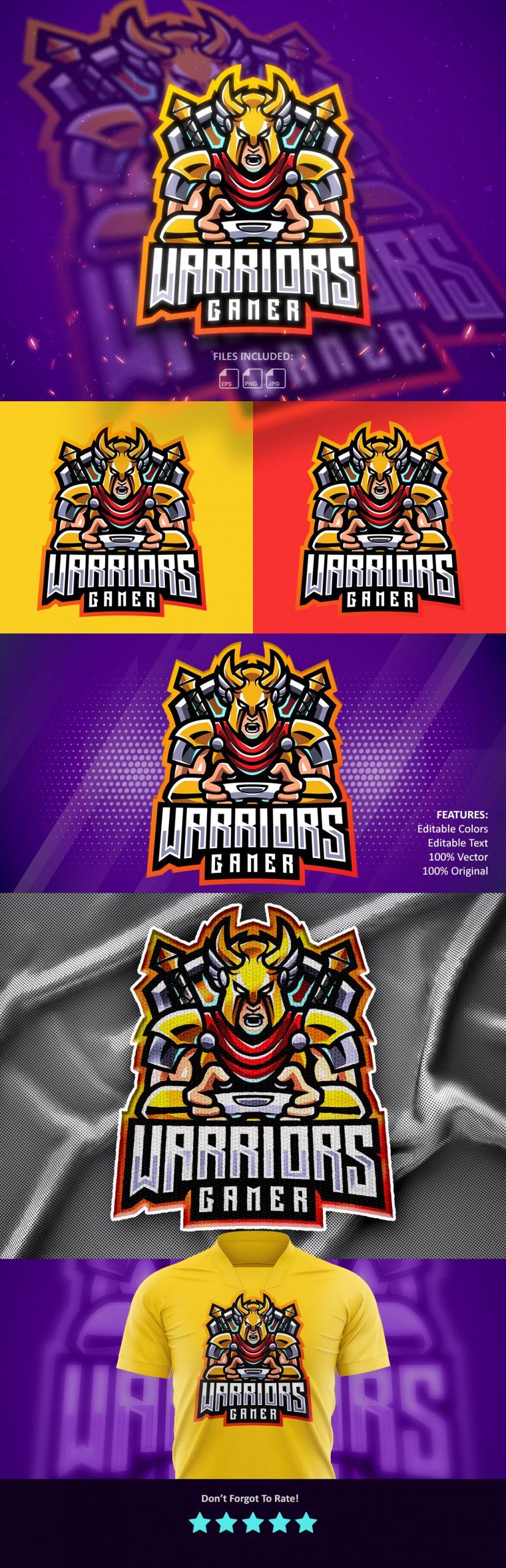 Free-Warriors-Gaming-Clan-Mascot-Logo-Download