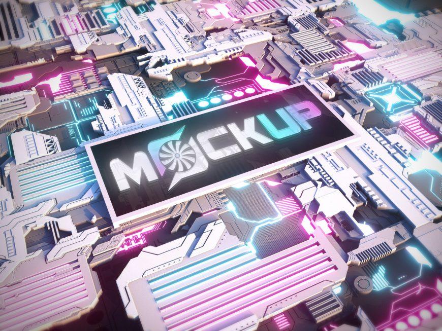 Logo Mockup with Sci-Fi Technology Style