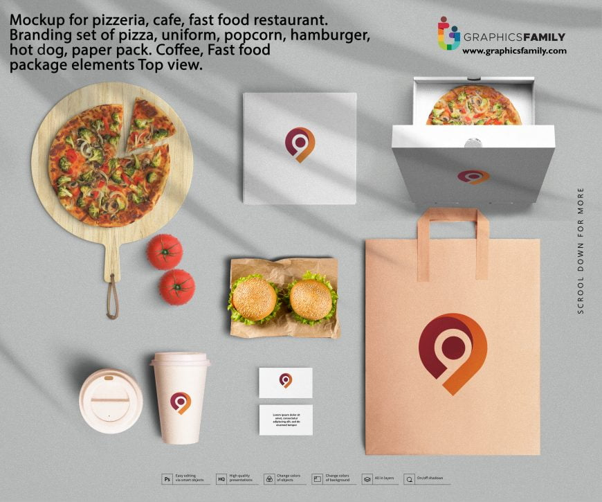 Mockup for pizzeria, cafe, fast food restaurant. Branding set of pizza, uniform, popcorn, hamburger, hot dog, paper pack. Coffee, Fast food package elements Top view.
