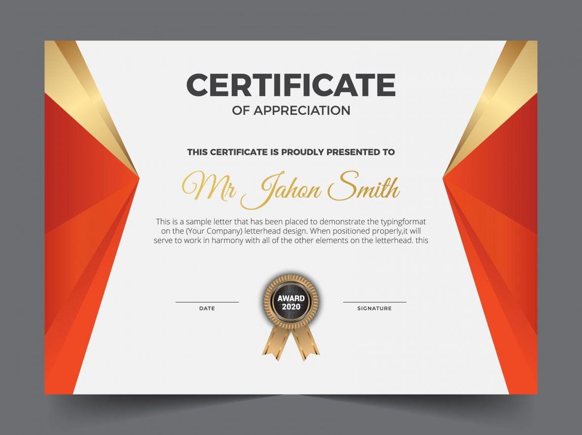 Modern Premium Company Certificate Of Achievement And Appreciation Template