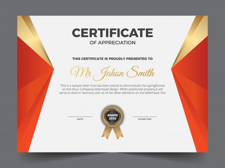 Modern Premium Company Certificate Of Achievement And Appreciation Template