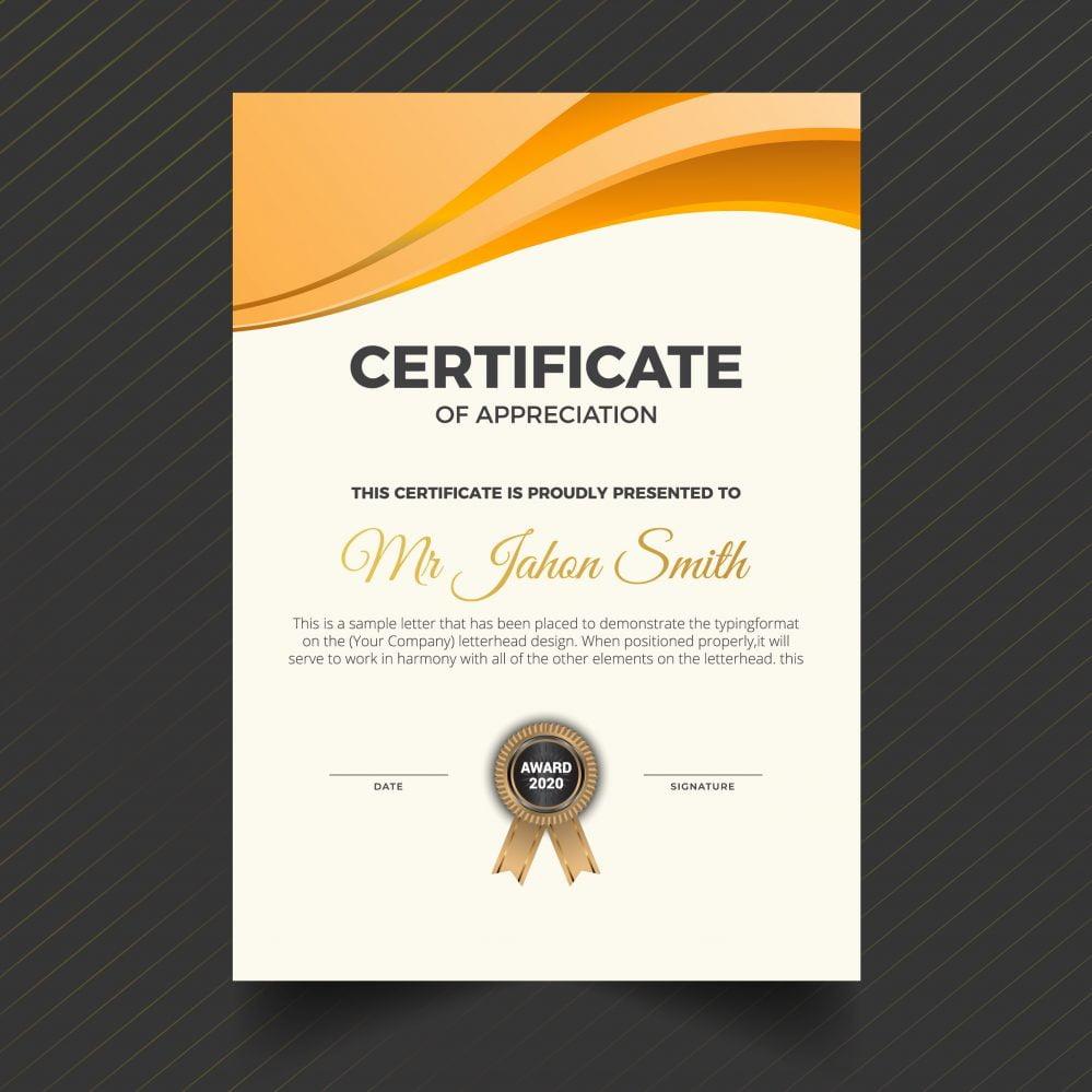 Portrait Vertical Orange Certificate