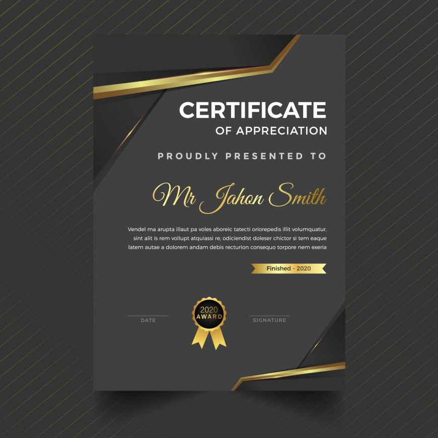 Premium golden black vertical certificate template design
