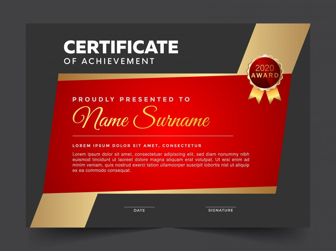 Red Gold Certificate Template For Multipurpose Diploma Award Or Graduation