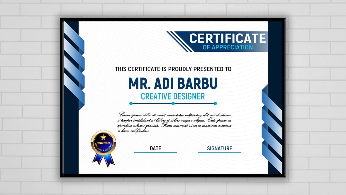 Simple Blue and White Certificate Design