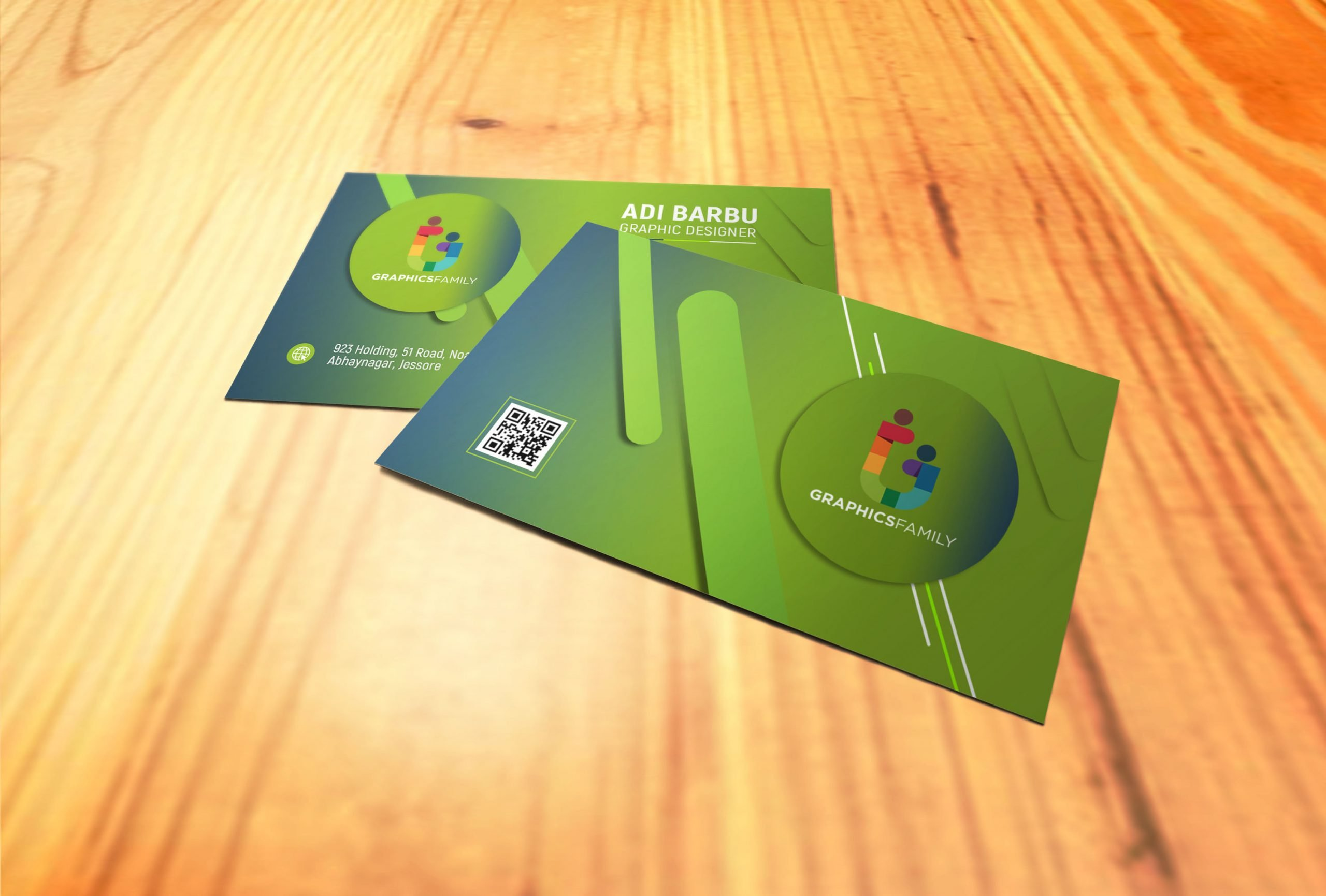 Simple Green Business Card Design Download