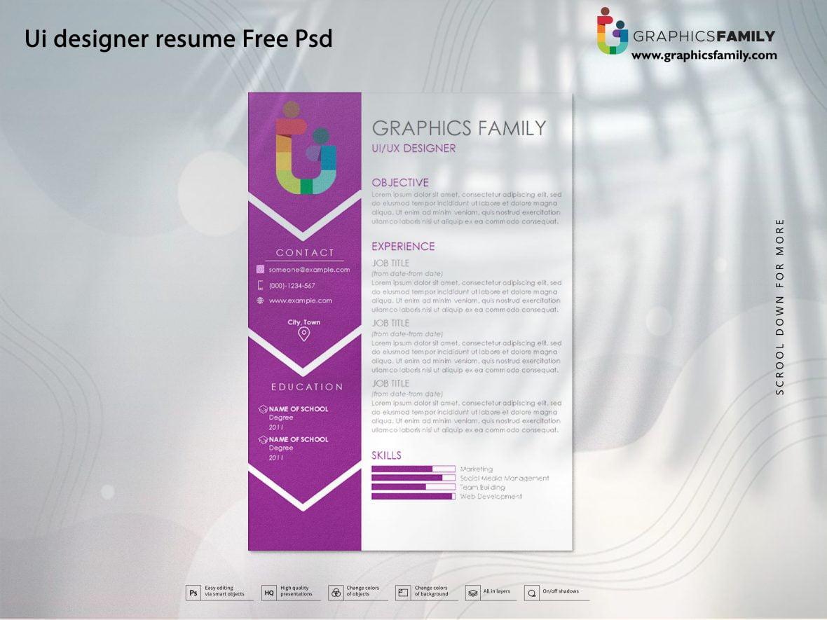 Ui designer resume Free Psd