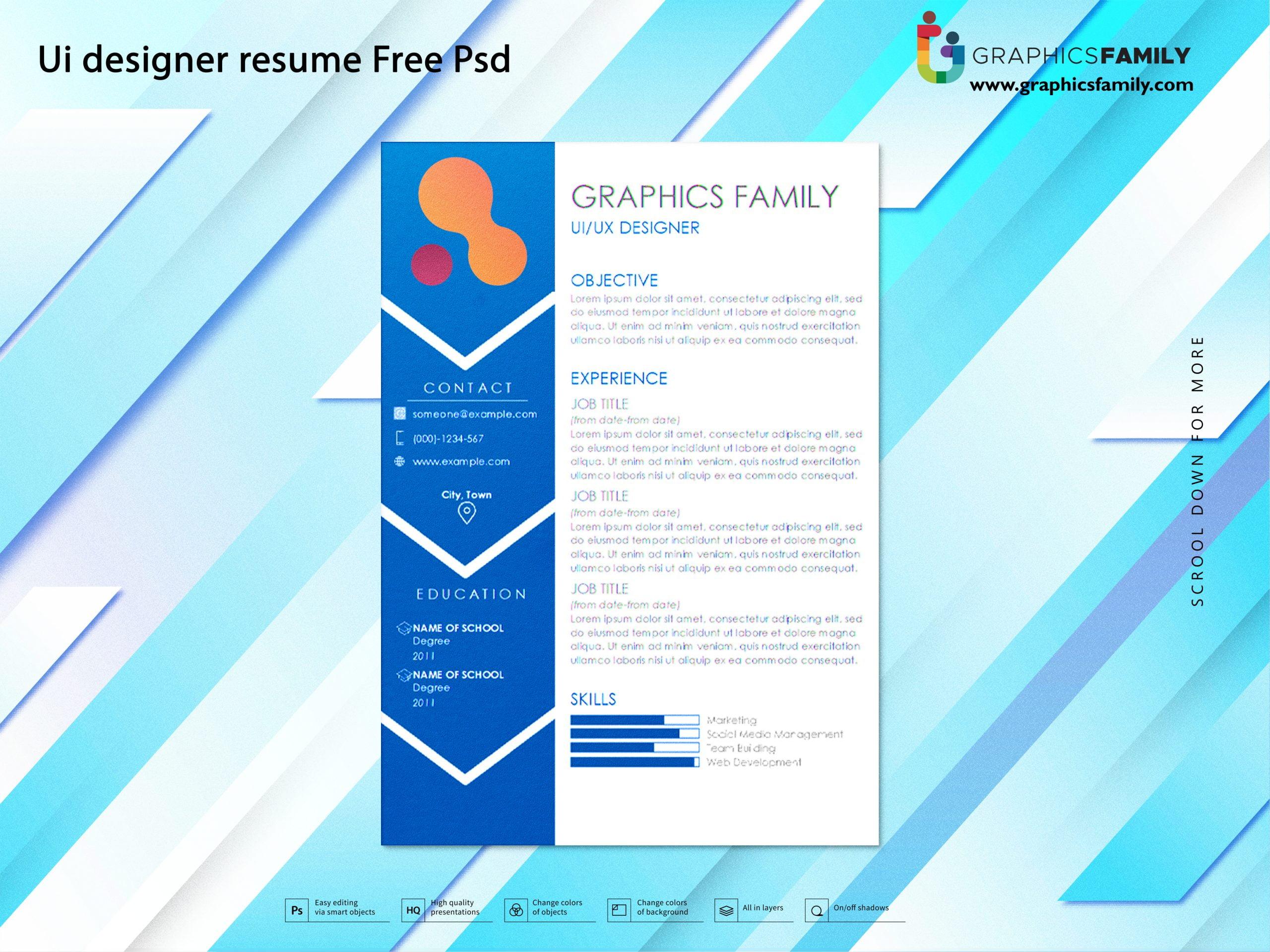 Ui designer resume Free Psd Download