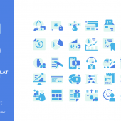 30 Free Finance Flat Style Icon Set (AI)