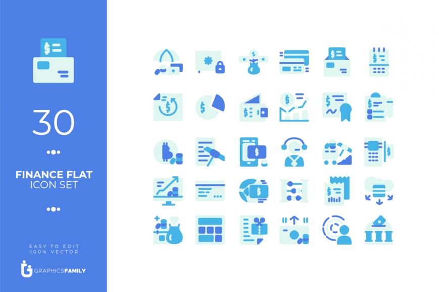 30 Free Finance Flat Style Icon Set (AI)
