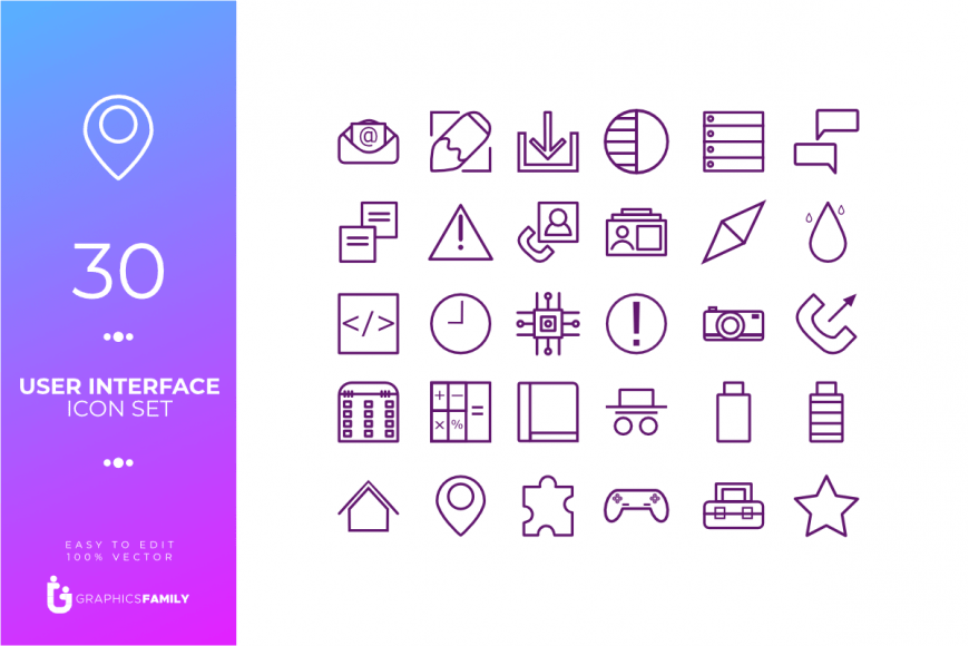 Free User Interface Icon Pack - 30 SVG