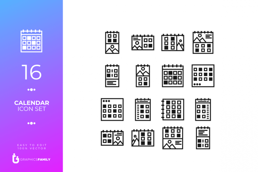 16 Calendar Icon Set (SVG)