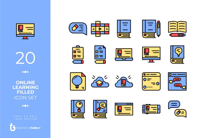 20 Online Learning Filled Icon Set (SVG)