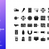 30 Control Icon Set Solid Style (SVG)