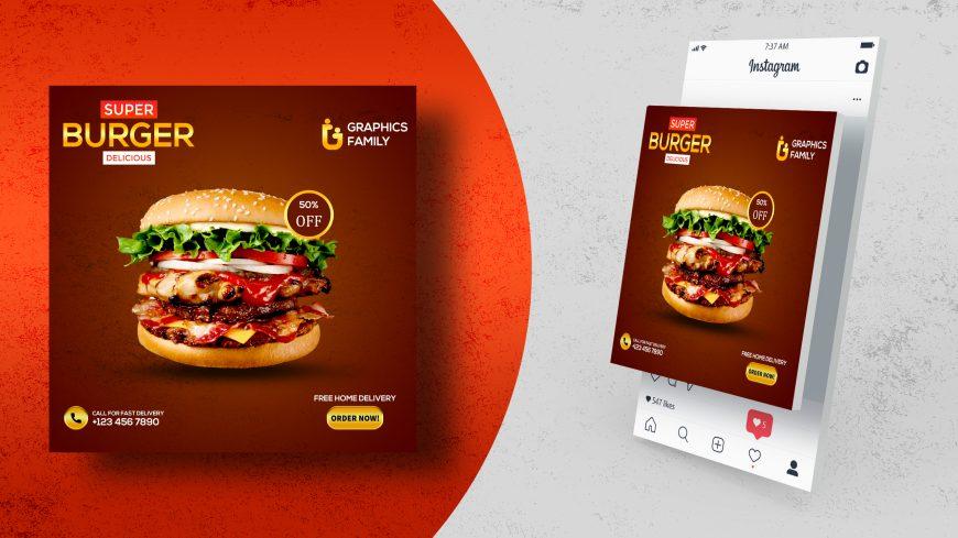 Burger Social Media Post Design Vector Template