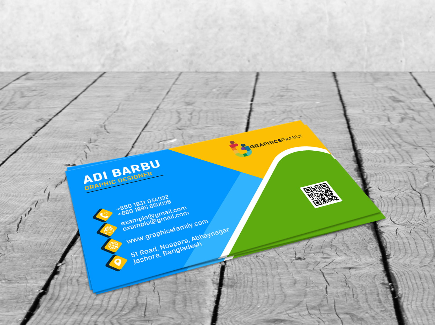 Colorful Business Visiting Card Design by GraphicsFamily