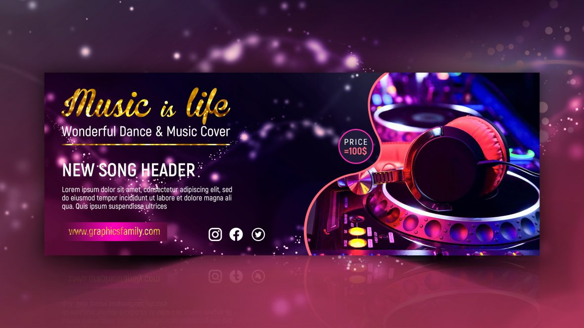 Dance and Music Free Facebook Cover Design Template