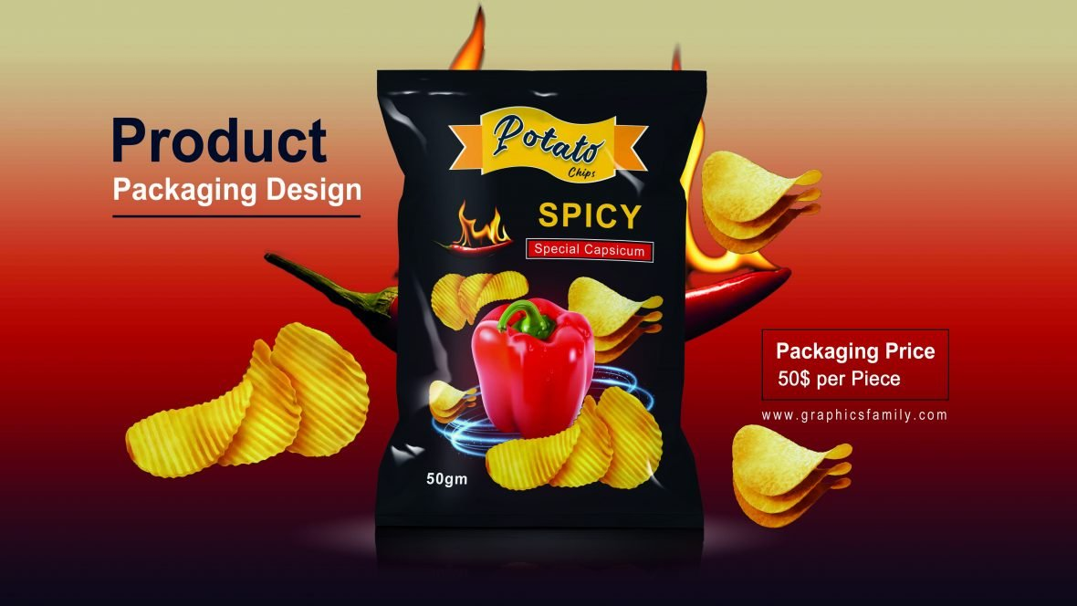 Editable Chips Product Packaging Design PSD