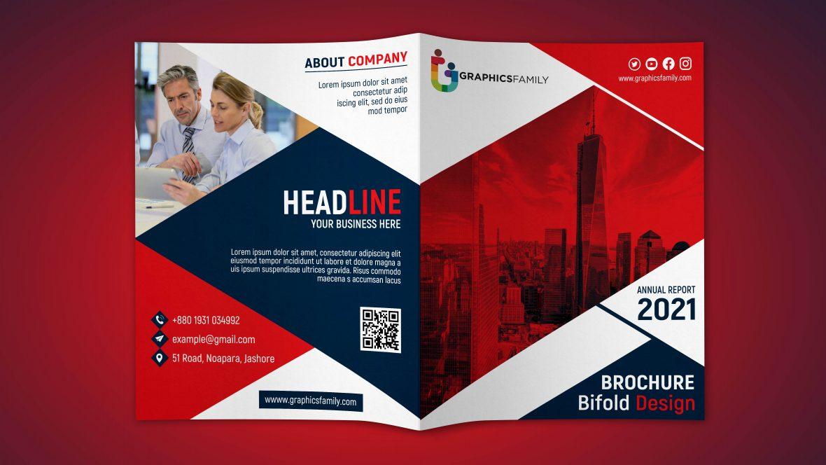 Free Download Bifold Brochure Design PSD