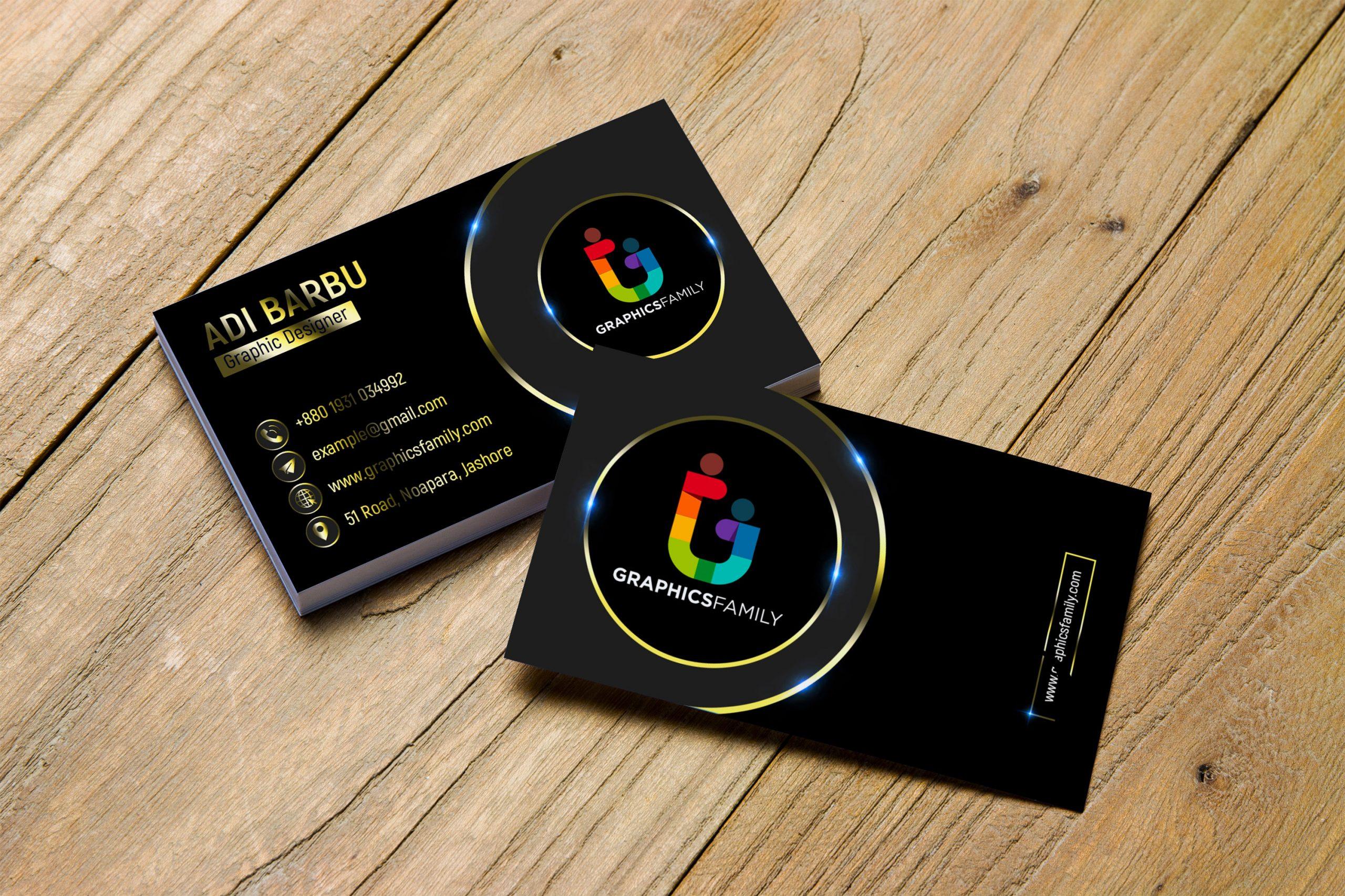 Free Download Gold PSD Visiting Card Design