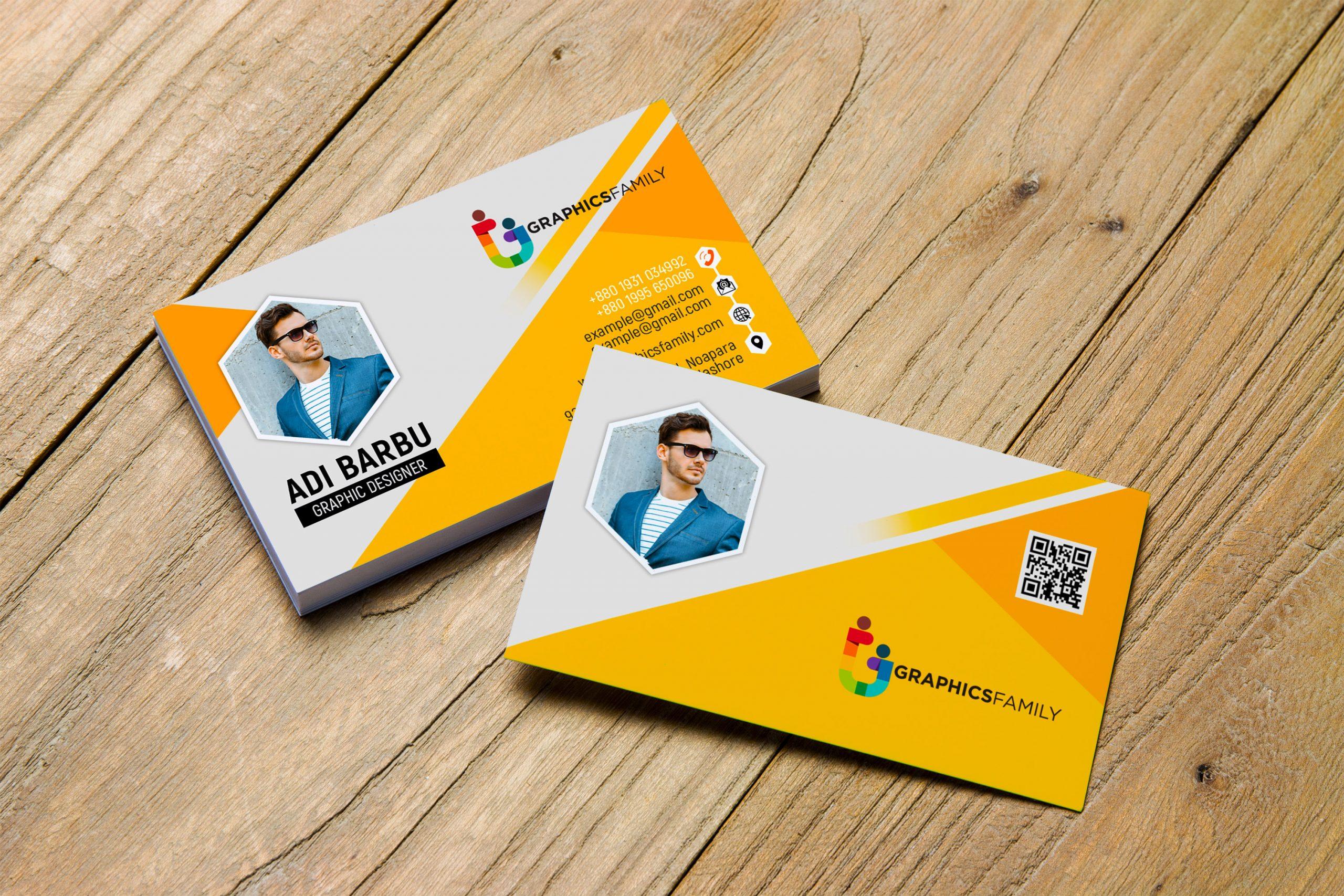 Free Download Yellow Visiting Card Design