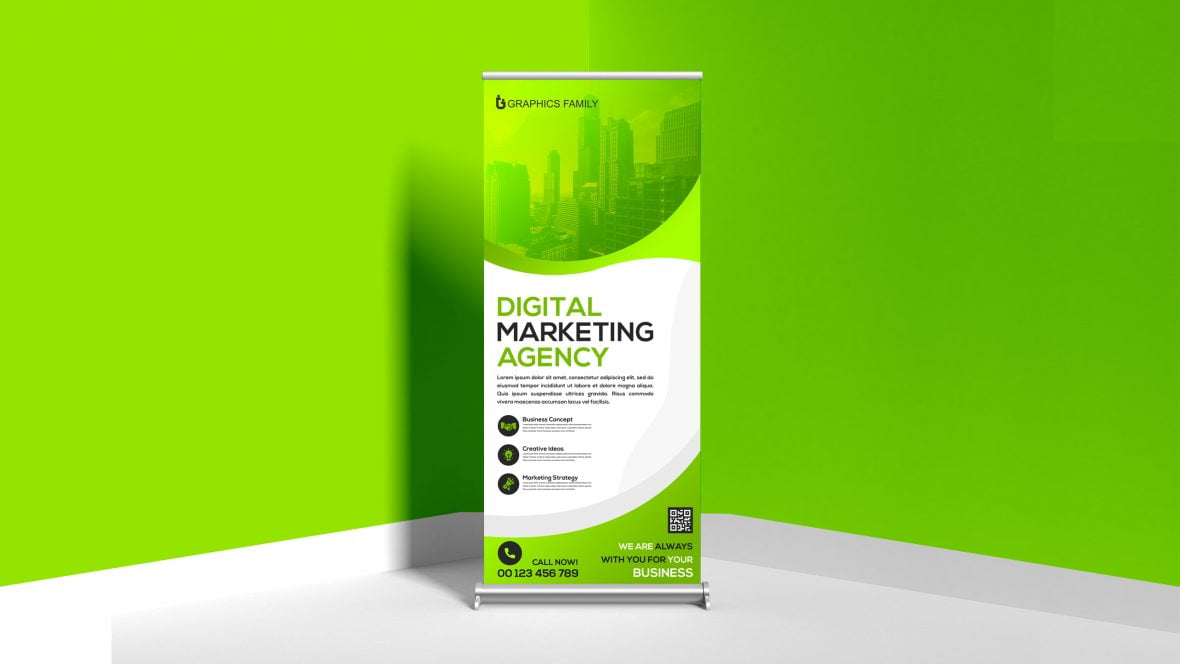 Free Editable Photoshop Roll Up Banner Design