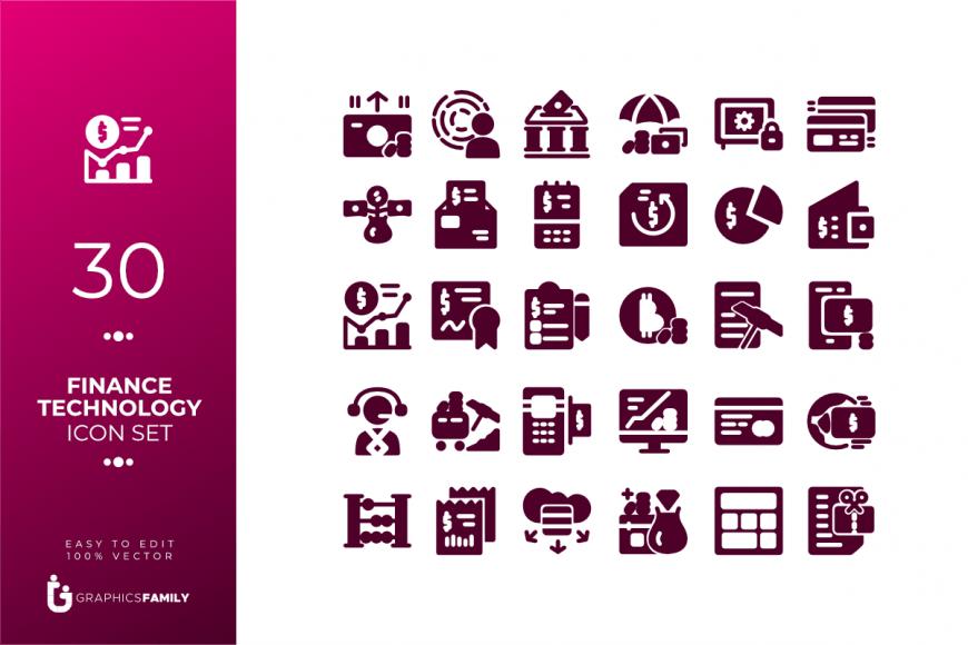 Free Finance Technology Icon Set