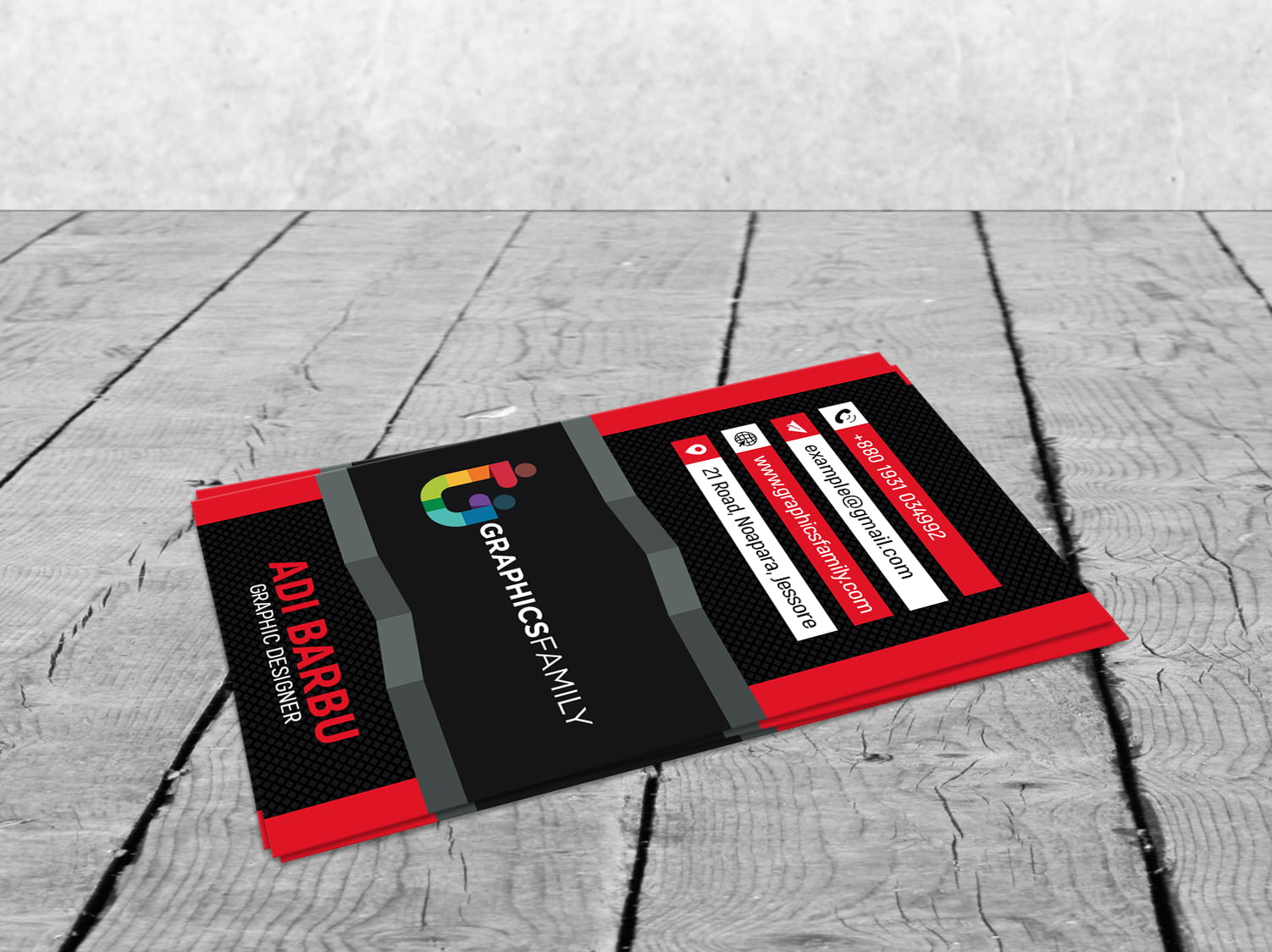 Free Modern 3D Red Visiting Card Design