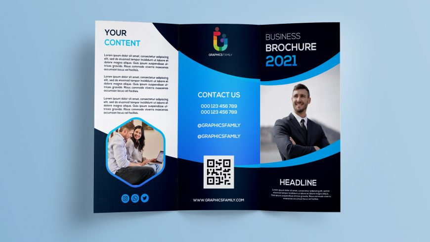 Free Photoshop Business TriFold Brochure Design Template