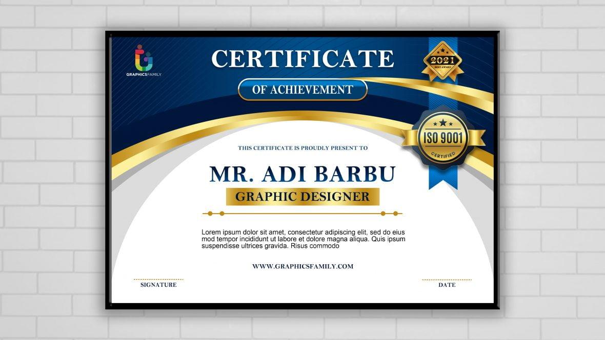 Free Photoshop Editable Certificate Design Template
