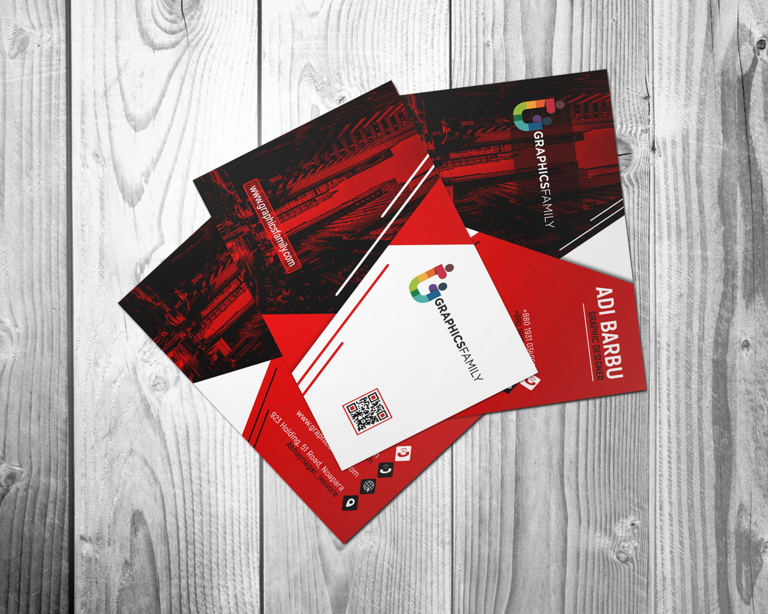 Free Red and White Visiting Card Design in Photoshop