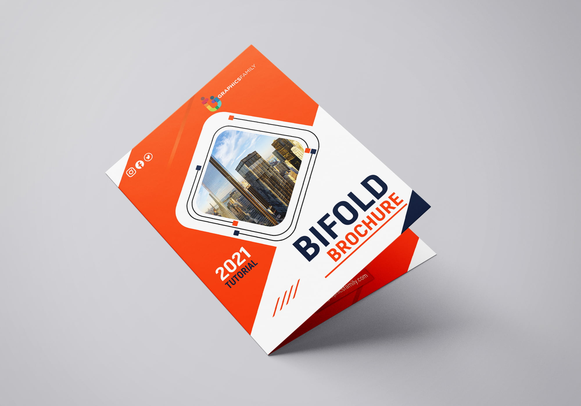 Free Download Simple Bifold Brochure Design for Photoshop