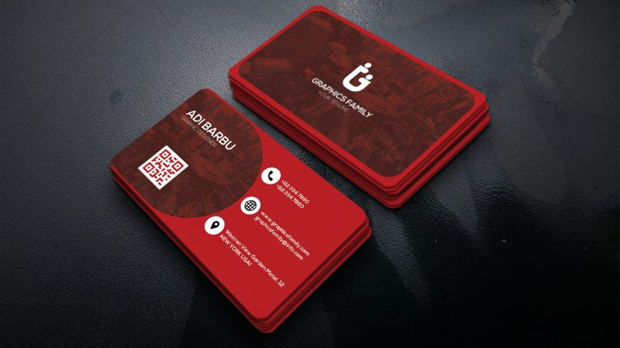 Graphic Designer Red Visiting Card Template