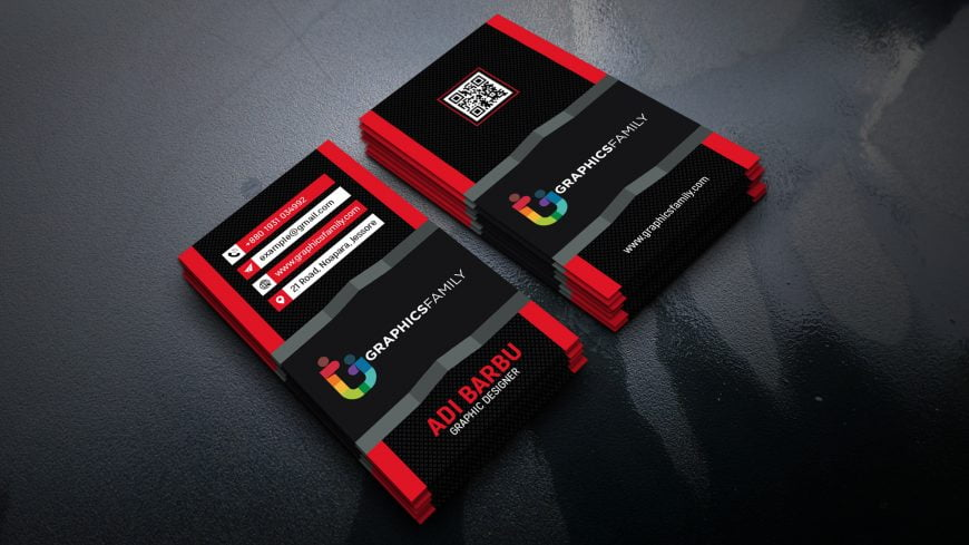 Modern 3D Red Visiting Card Design