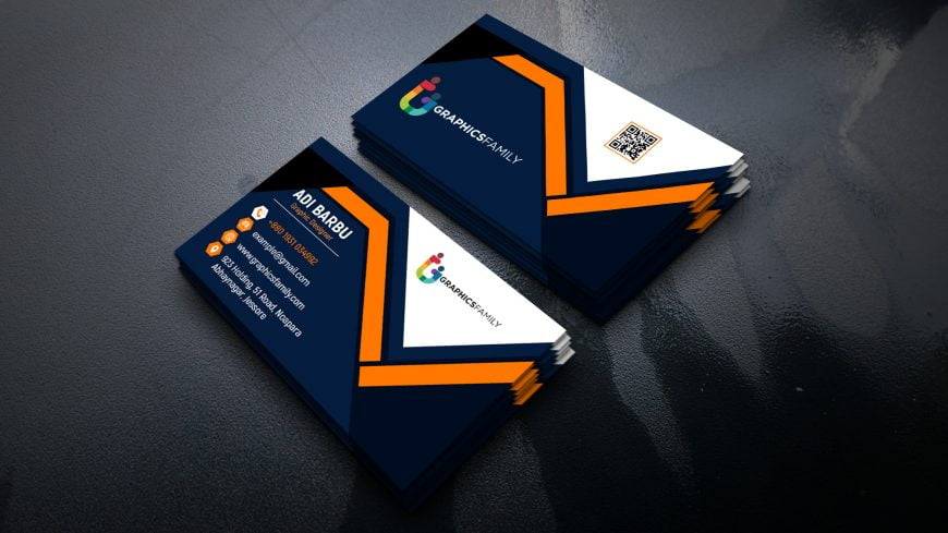Orange Blue White Visiting Card Template in Photoshop