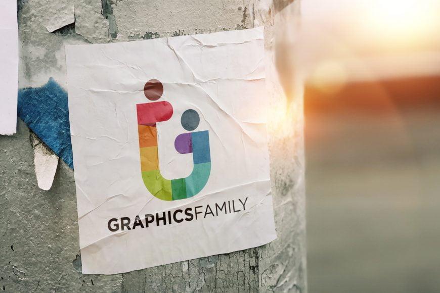 Paper Sticker Logo Mockup