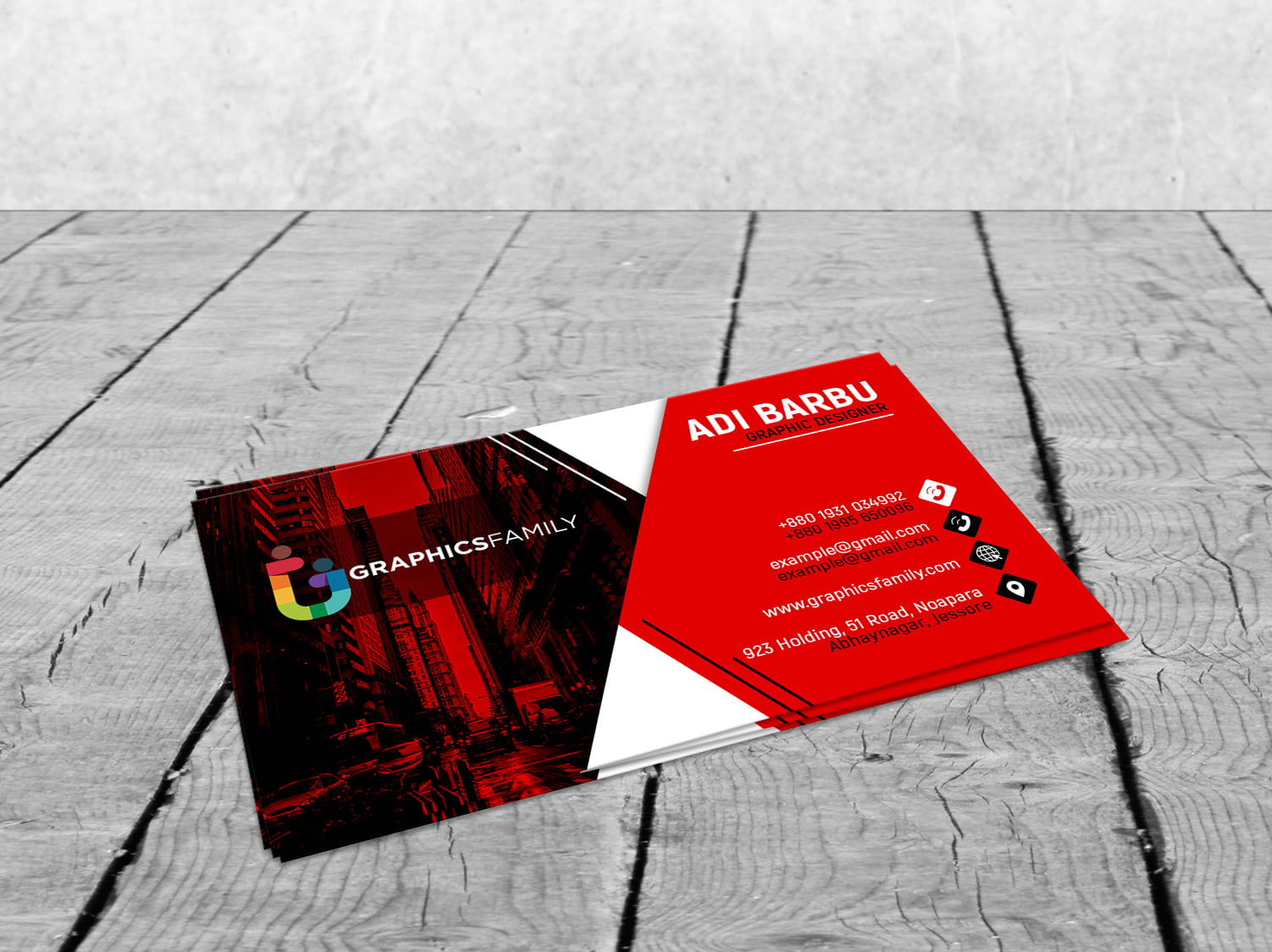 Photoshop Red and White Visiting Card Design in Photoshop