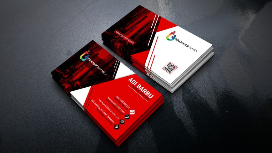 Red and White Visiting Card Design in Photoshop