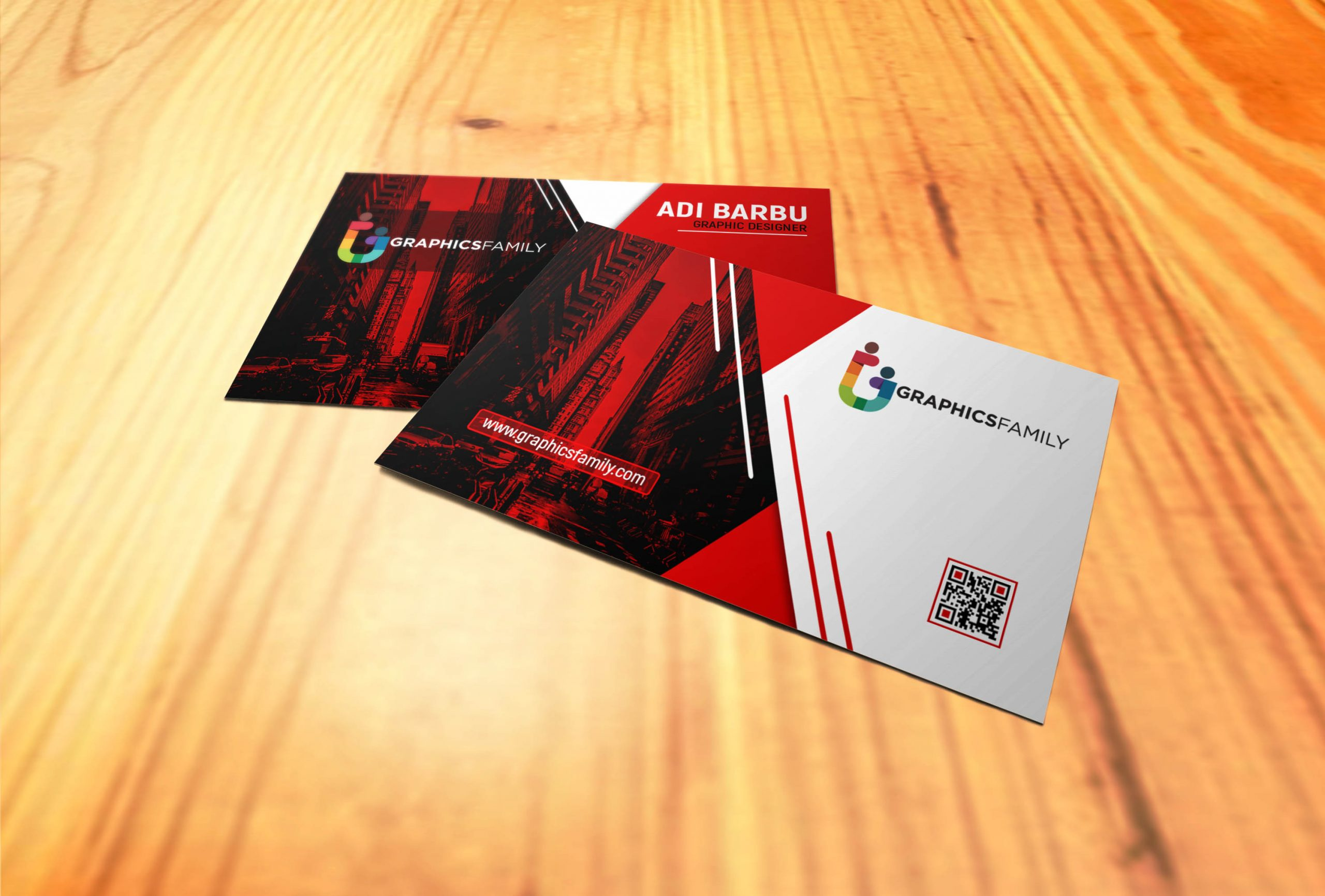 Red and White Visiting Card Design in Photoshop Download