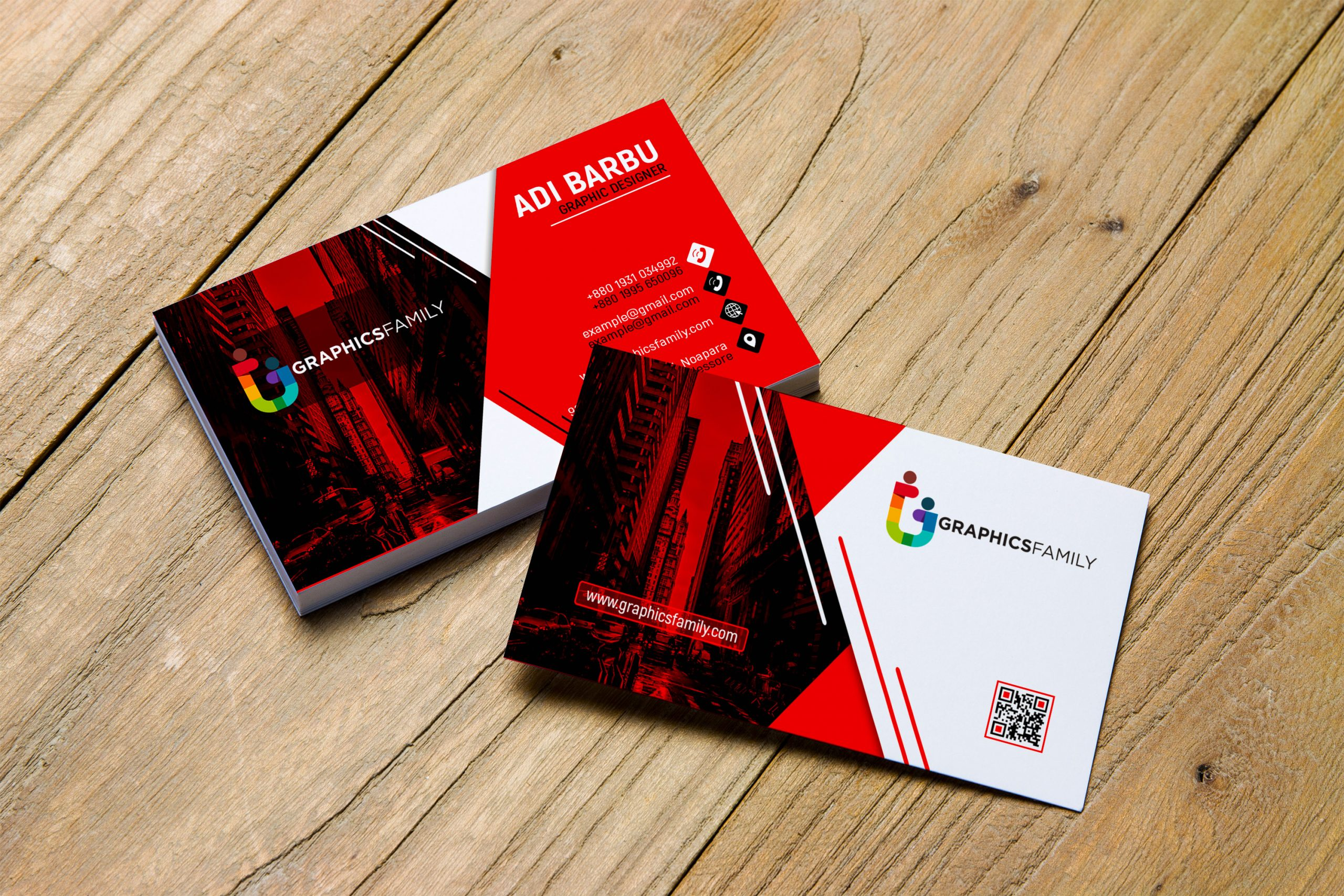 Red and White Visiting Card Design in Photoshop Free Download