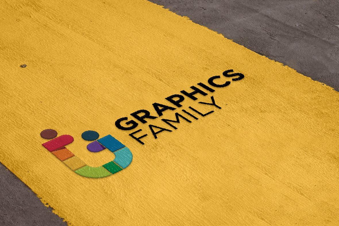 Road Paint Logo Mockup