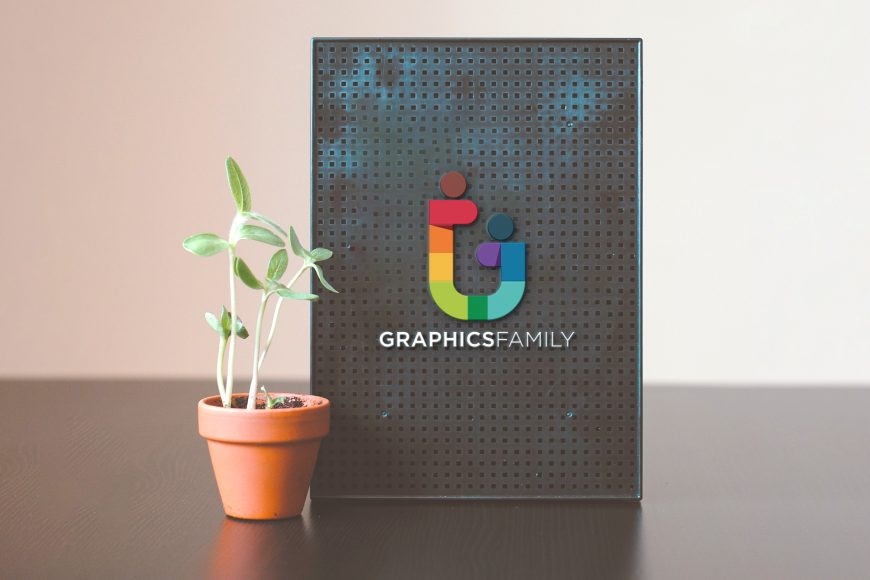 Table Board with plant Logo Mockup