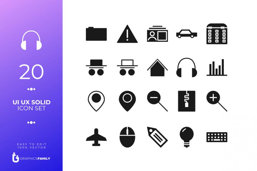 UI UX Solid Icon Set (SVG)