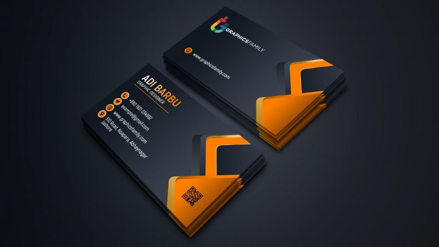 Visiting Card Design with Black and Orange