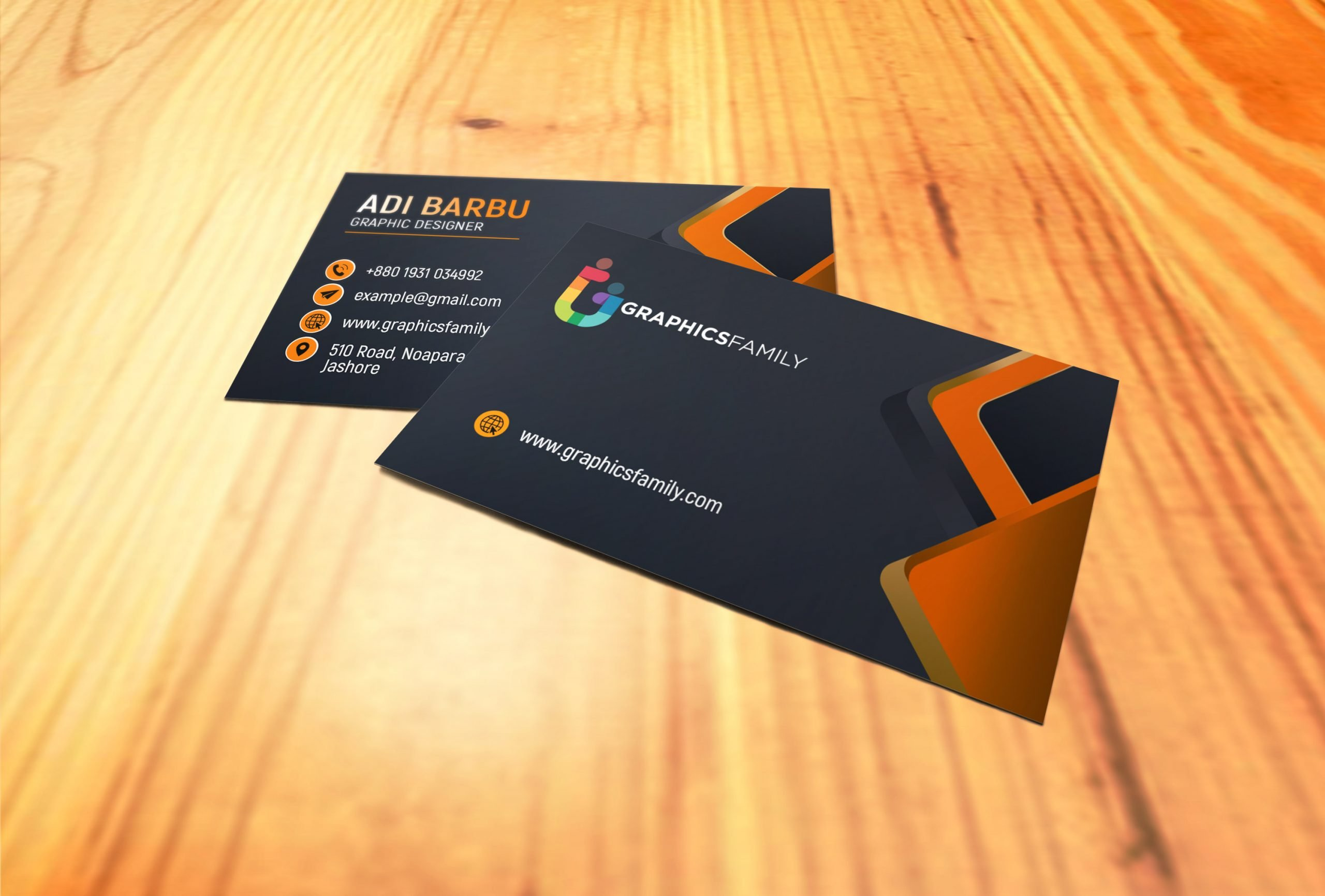 Visiting Card Design with Black and Orange Download