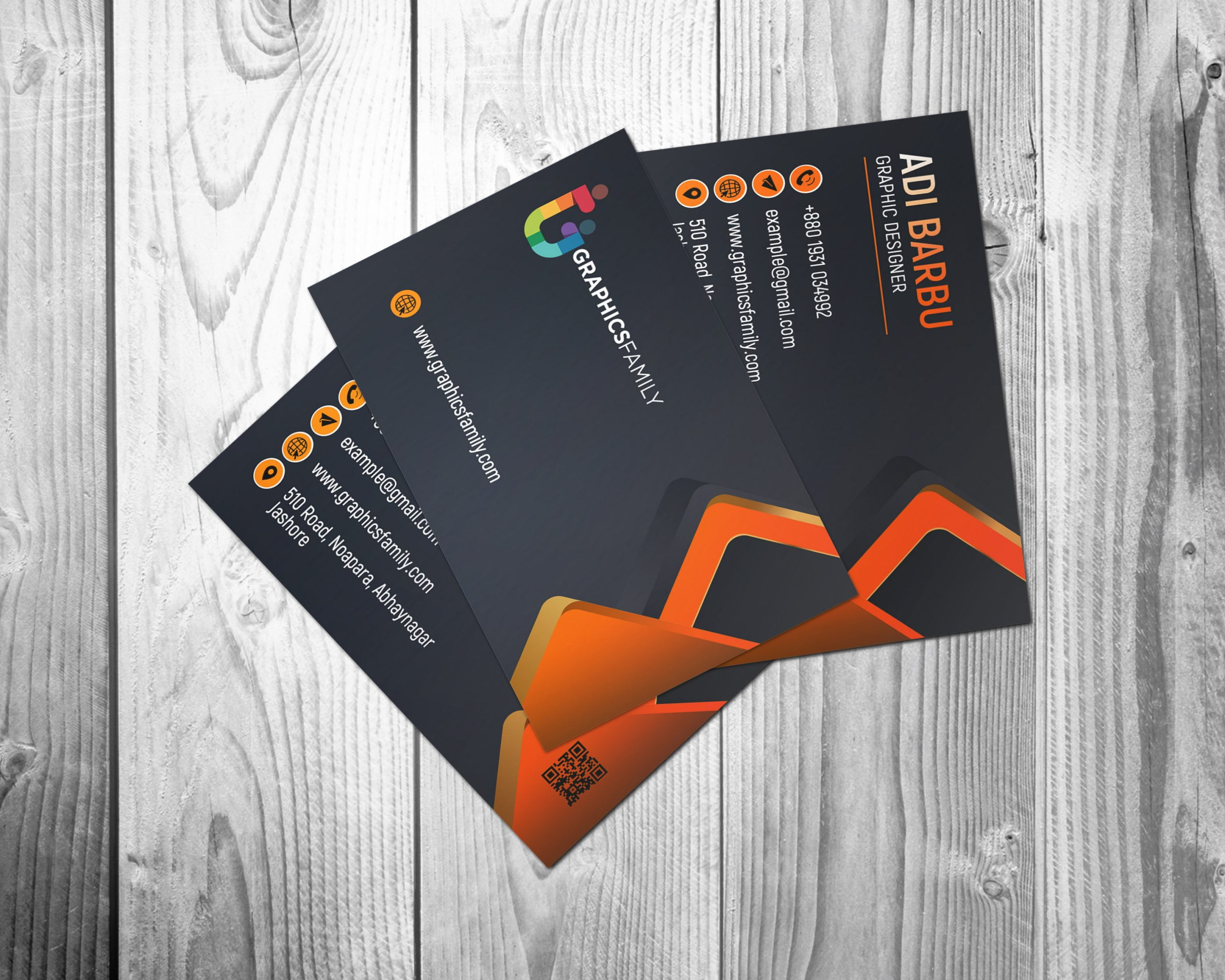 Visiting Card Design with Black and Orange Free Download