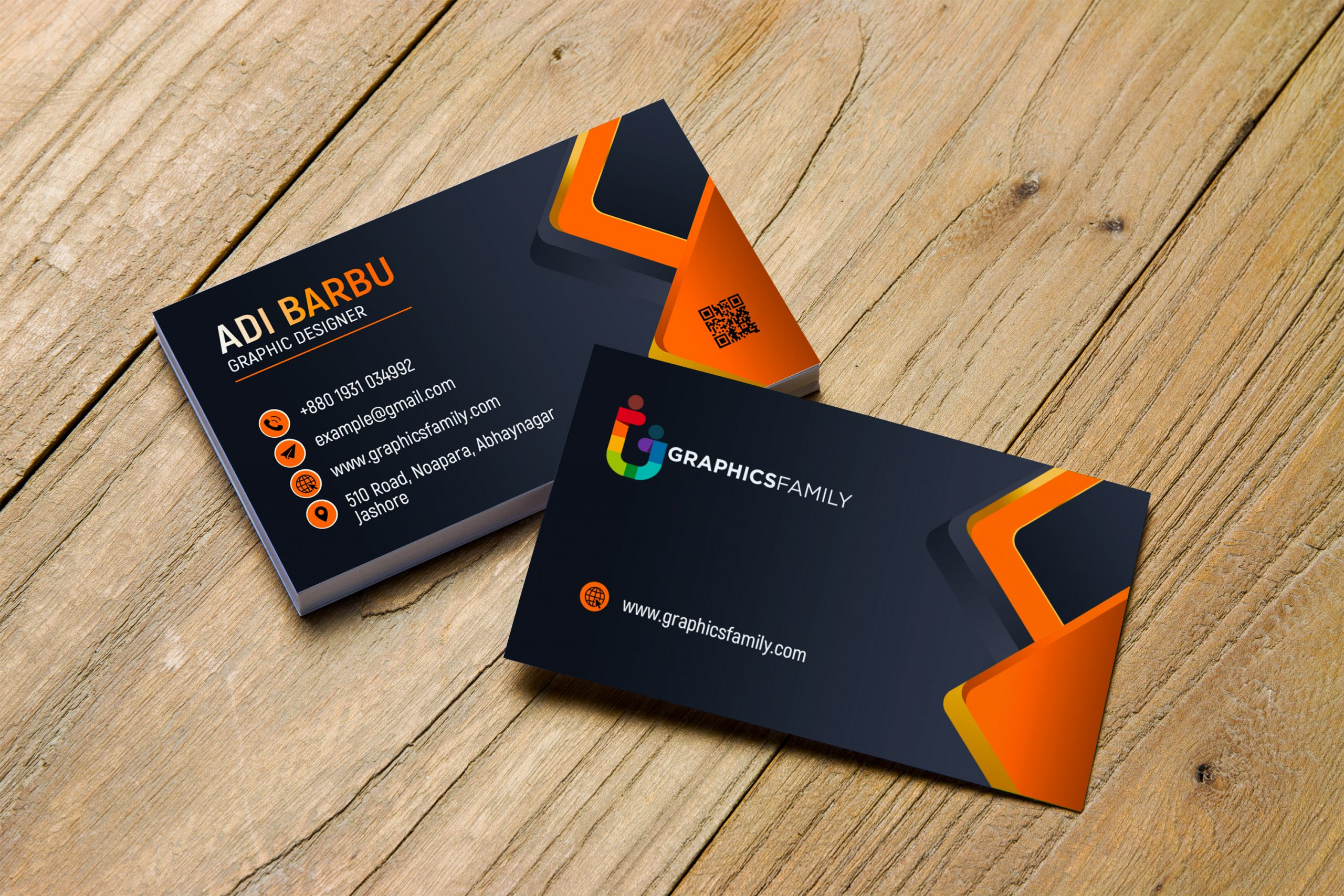 Visiting Card Design with Black and Orange by GraphicsFamily