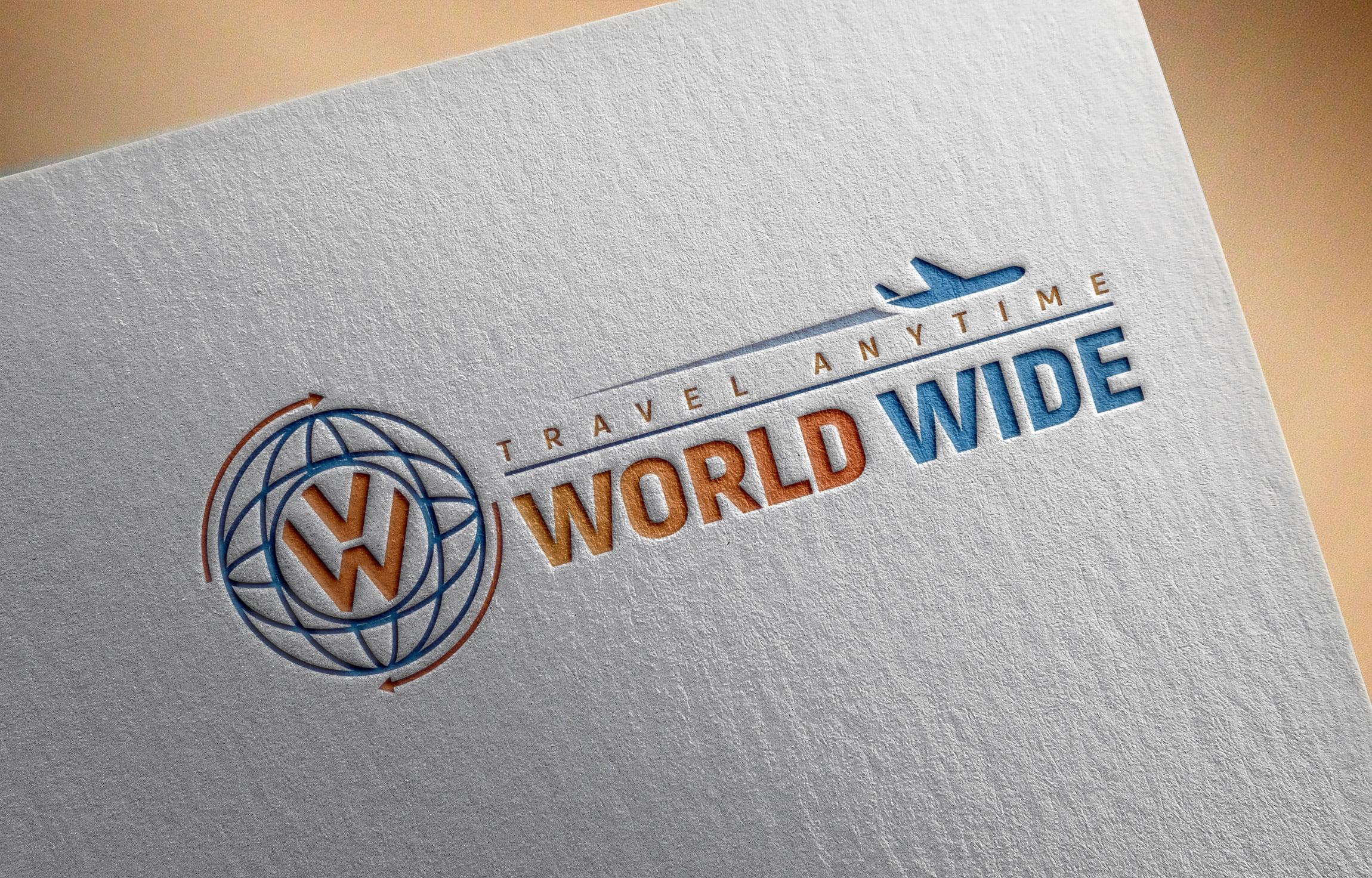 World Wide Travel Company Logo Design Template
