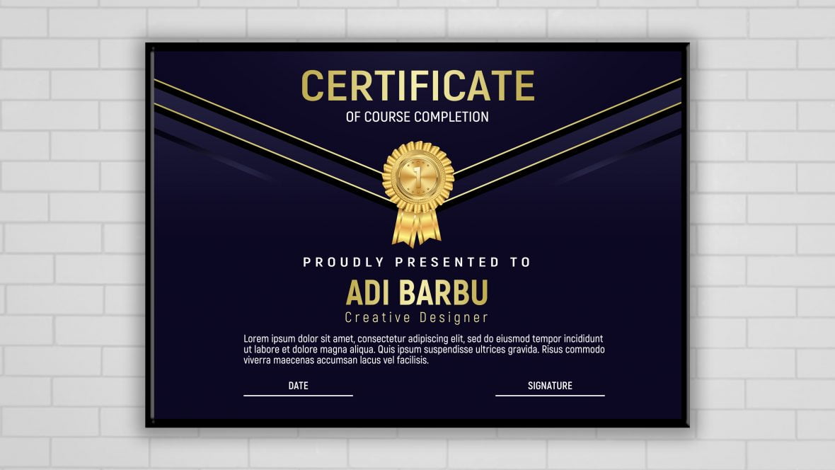 Course Completion Certificate Design Template Download
