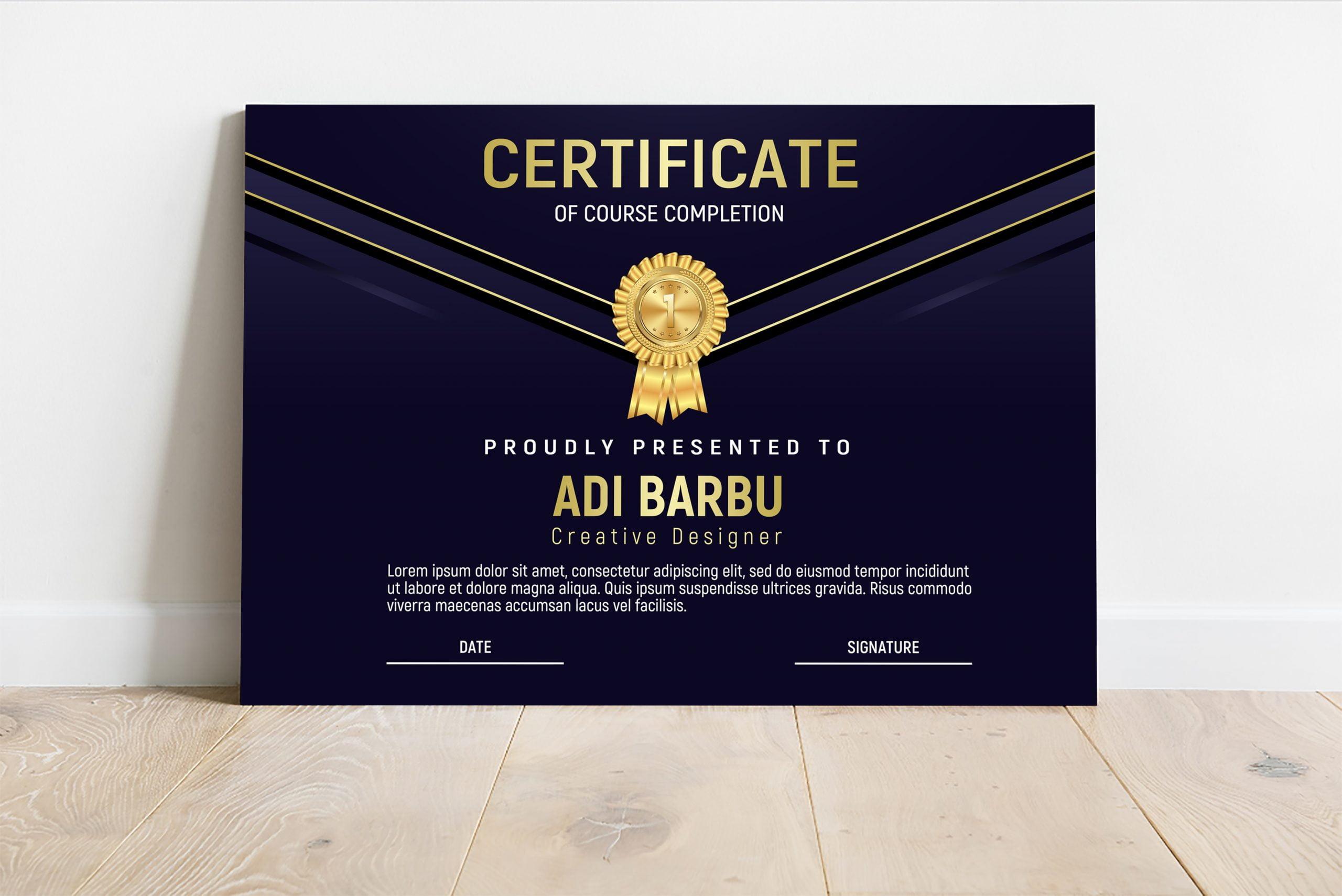 Course Completion Certificate Design Template